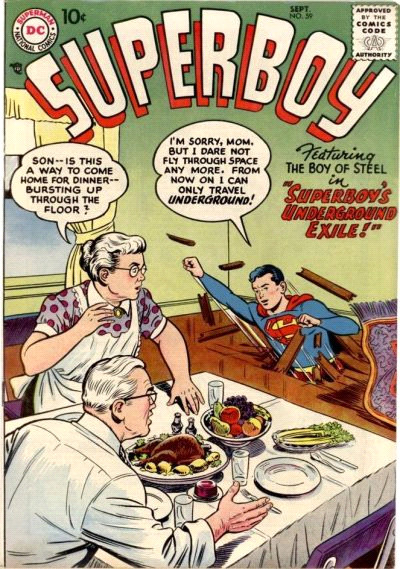 <i>Superboy​,​ ​no.​ ​59</i>,​ ​September​ ​1957.​ ​Cover​ ​art by​ ​Al​ ​Plastino.​ ​Published​ ​by​ ​DC​ ​Comics.
