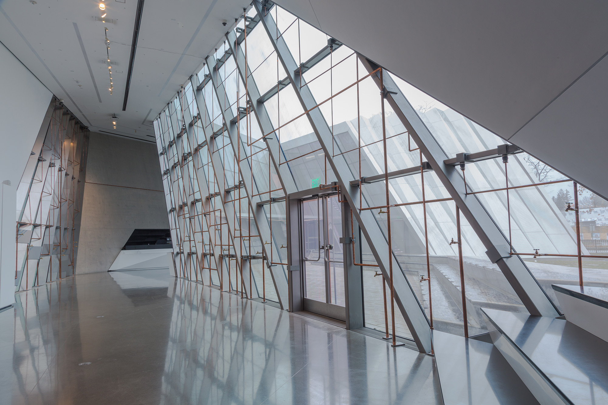 <i>Beyond Streaming: A Sound Mural for Flint</i>, installation view at the Eli and Edythe Broad Art Museum at Michigan State University, 2017. Courtesy the artist. Photo: MSU Broad