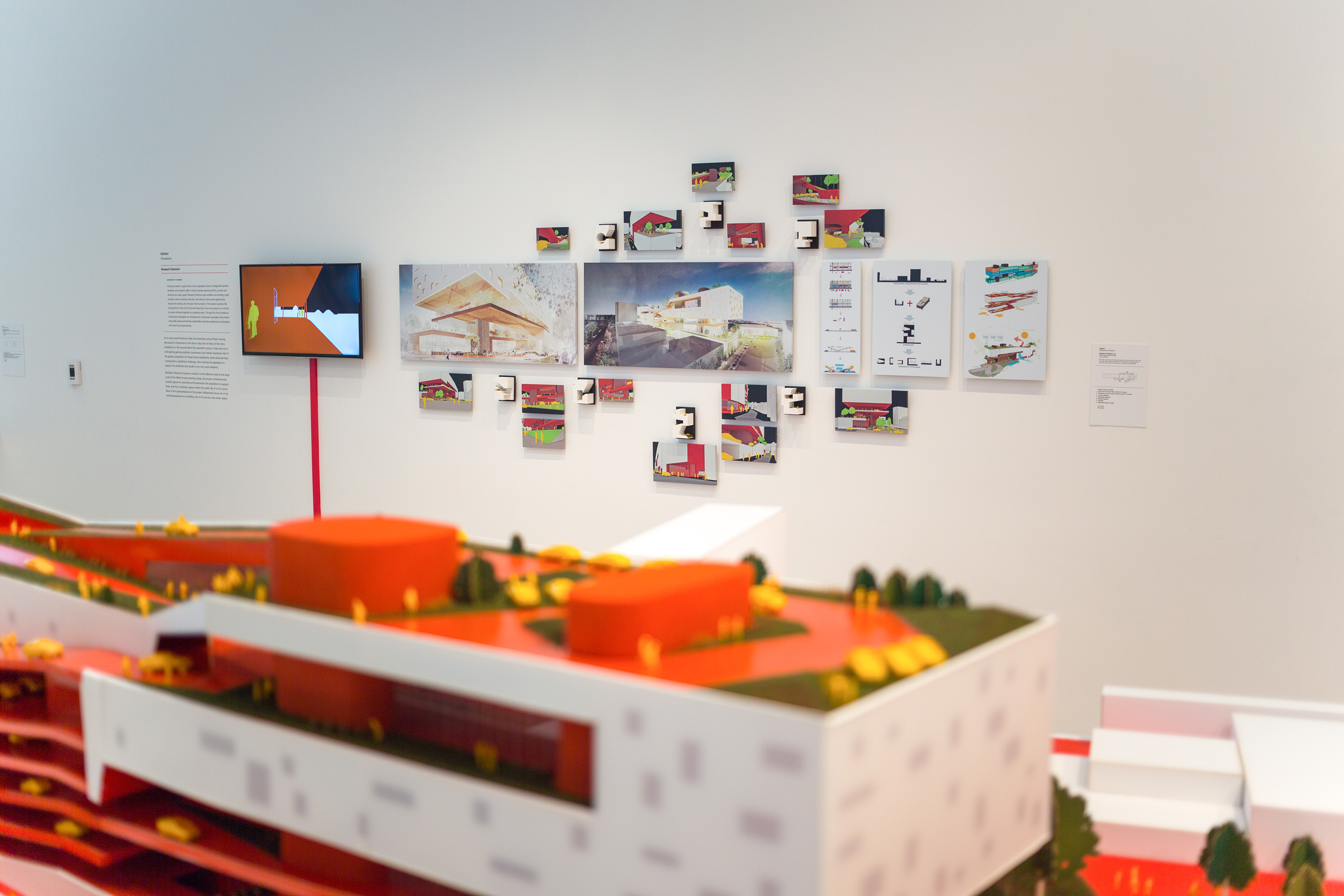 <i>East Lansing 2030 | Collegeville Re-Envisioned</i>, installation view at the Eli and Edythe Broad Art Museum at Michigan State University, 2014. Photo: MSU Broad