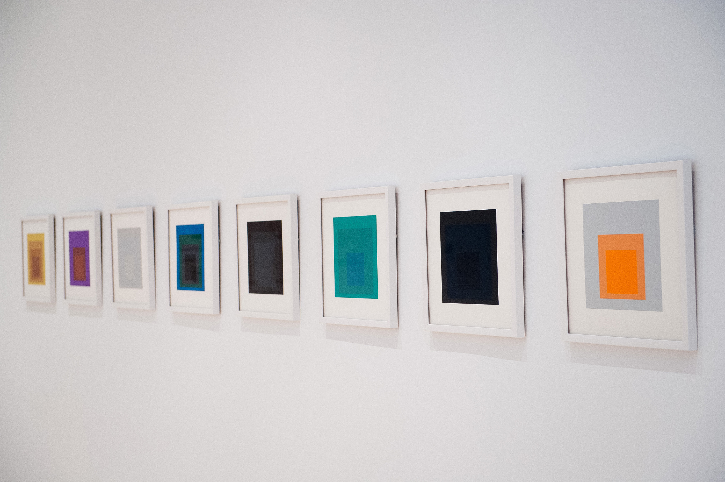 Josef Albers, <i>Homage to the Square</i>, Soft Edge, Hard Edge, 1965, installation view at the Eli and Edythe Broad Art Museum at Michigan State University, 2013. Eli and Edythe Broad Art Museum, Gift of Dr. Neil J. Farkas in memory of his father Boris Farkas. Photo: Trumpie Photography