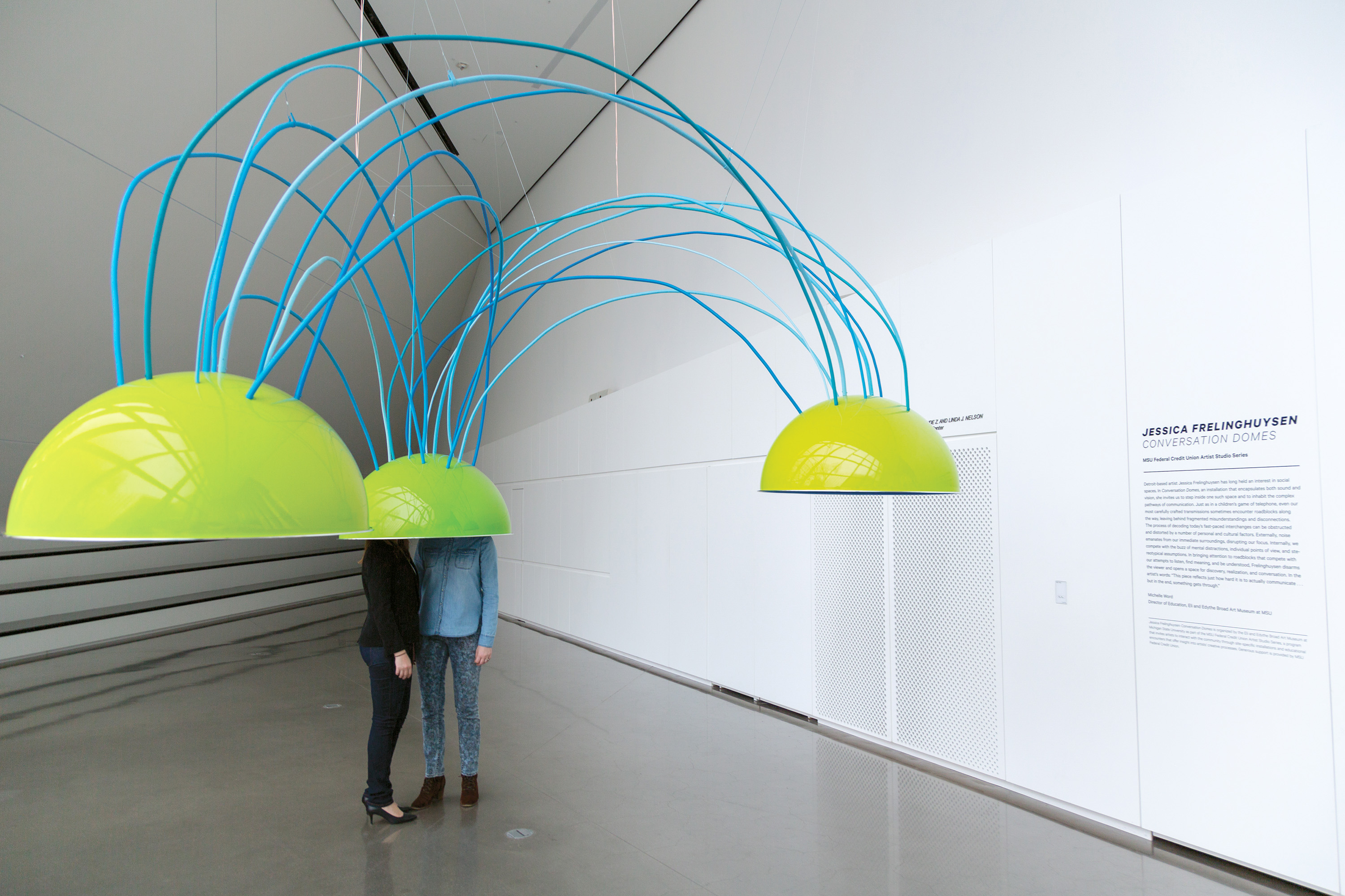 <i>Jessica Frelinghuysen: Conversation Domes</i>, installation view at the Eli and Edythe Broad Art Museum at Michigan State University, 2014. Photo: MSU Broad