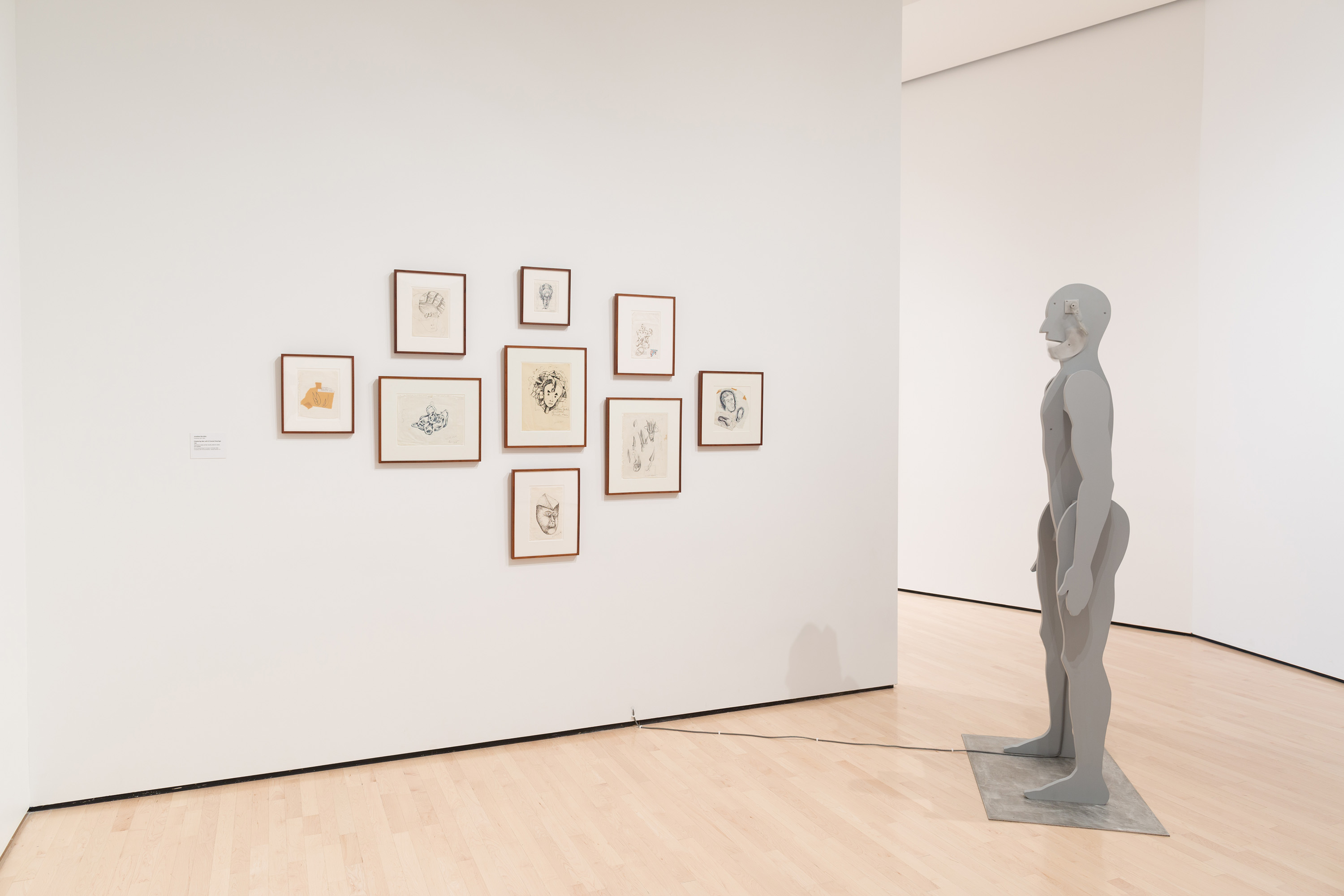 Jonathan Borofsky, <i>Chattering Man with 9 Framed Drawings</i>, 1986, installation view at the Eli and Edythe Broad Art Museum at Michigan State University, 2015. Gift of Eli and Edythe Broad. Photo: Eat Pomegranate Photography