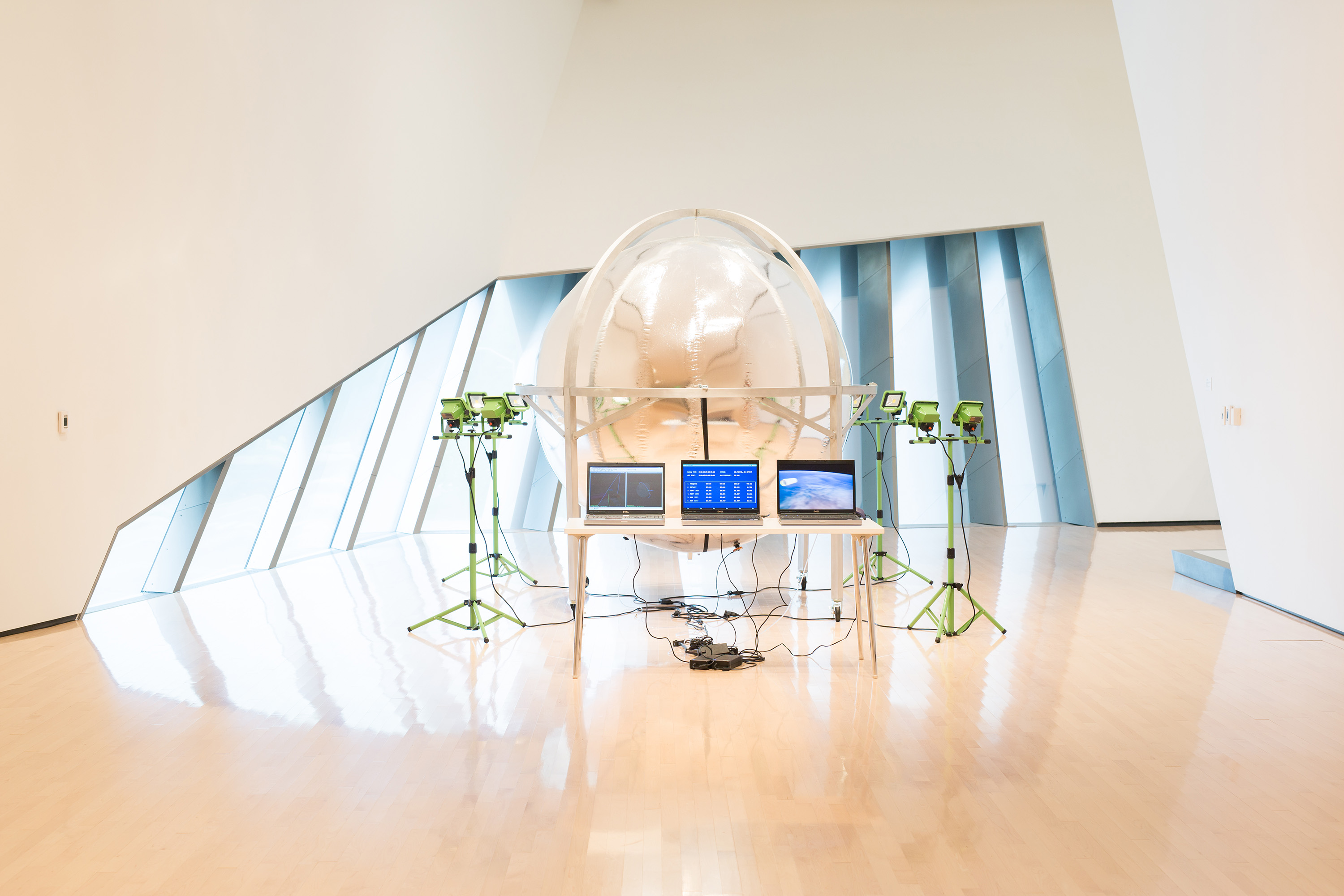 Trevor Paglen, <i>Prototype for a Nonfunctional Satellite (Design 4, Build 2)</i>, 2013, installation view at the Eli and Edythe Broad Art Museum at Michigan State University, 2015. Courtesy of the artist and Altman Siegel Gallery, San Francisco. Photo: Eat Pomegranate Photography