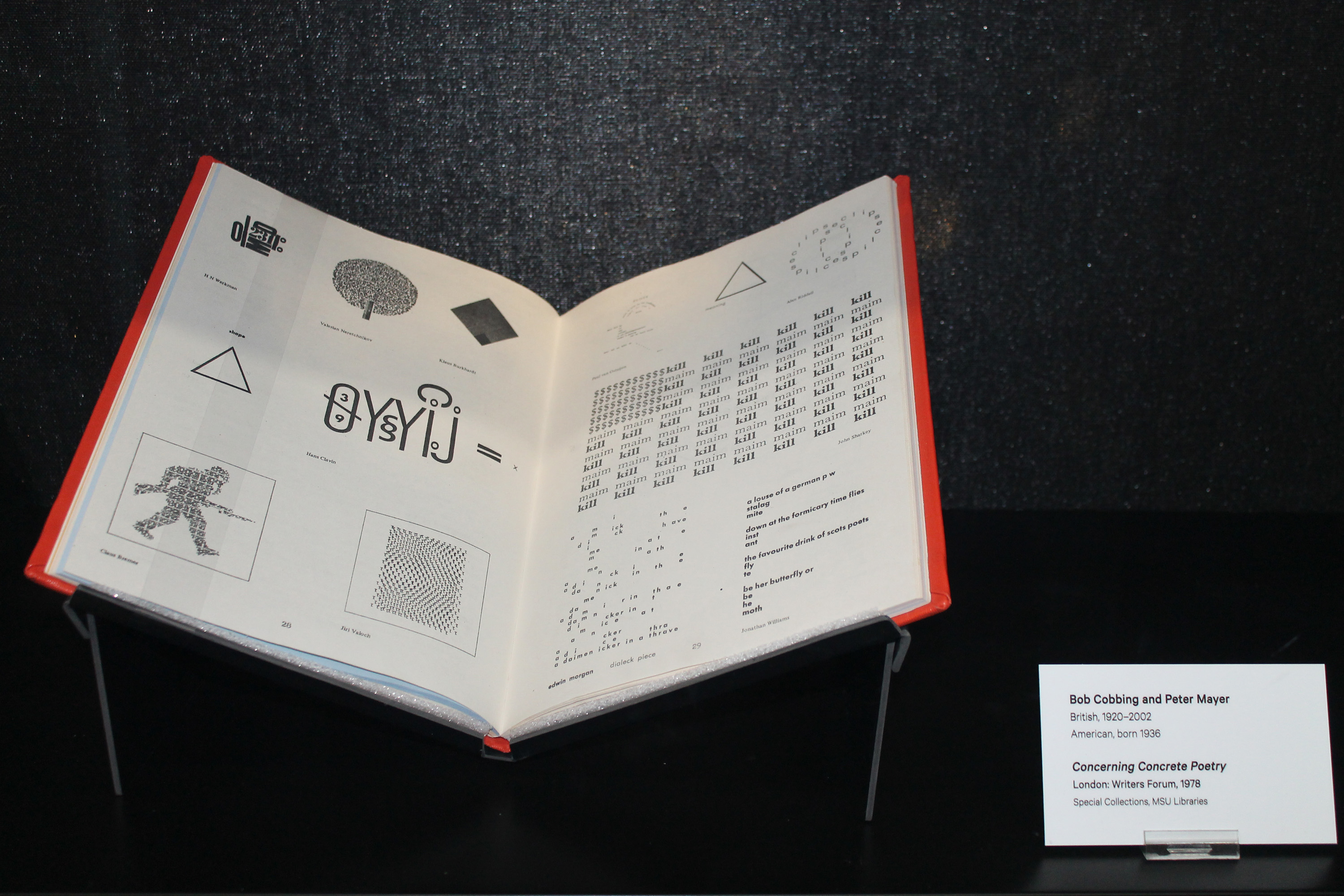 Bob Cobbing and Peter Mayer, <i>Concerning Concrete Poetry</i>, London: Writers Forum, 1978, installation view at the Eli and Edythe Broad Art Museum at Michigan State University, 2014. Special Collections, MSU Libraries. Photo: MSU Broad