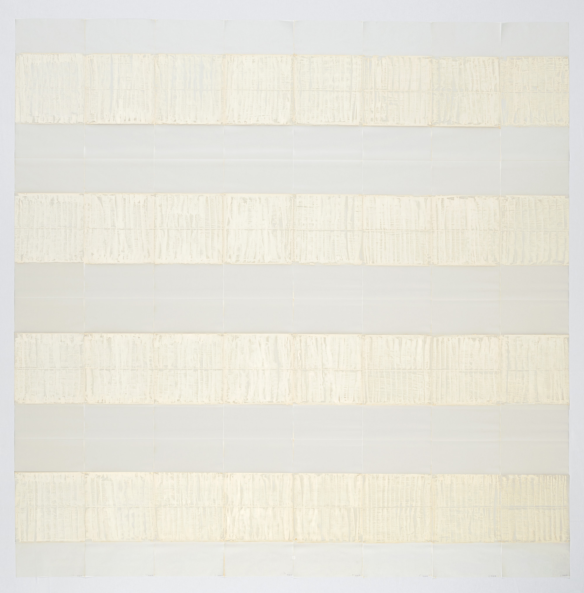 Michel Parmentier, <i>26 mars 1991</i>, 1991. Oil bar blanc applied flat, vertically, on tracing paper, 7 alternating horizontal bands, 38 cm wide (4+3) and, at the top and the bottom, 2 partial unpainted bands of 19 cm. 304 x 300 cm. Eli and Edythe Broad Art Museum, Michigan State University, Purchase. © ADAGP, Paris. The Estate of Michel Parmentier. AMP - Fonds Michel Parmentier, Bruxelles. Courtesy Galerie Loevenbruck, Paris. Photo: Philippe de Gobert