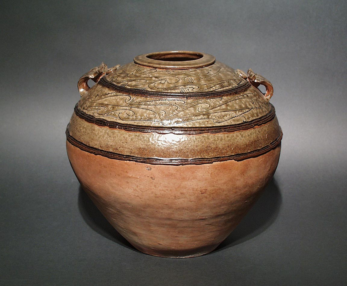 Chinese, Han Dynasty, <i>Globular Hu Storage Jar with Stylized Décor</i>, 1st century BC–1st century AD. Eli and Edythe Broad Art Museum, Michigan State University, MSU purchase, funded by the Nellie M. Loomis Endowment in memory of Martha Jane Loomis.
