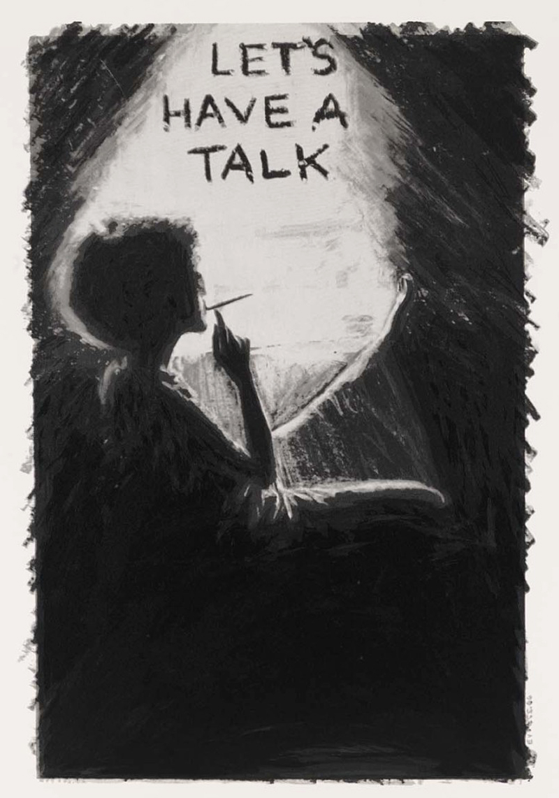 "Adrian Piper, <i>Let's Talk</i>, from the portfolio ""10: Artist as Catalyst,"" 1992. Eli and Edythe Broad Art Museum, Michigan State University, MSU purchase, funded by the Office of the Vice President for Research and Graduate Studies."