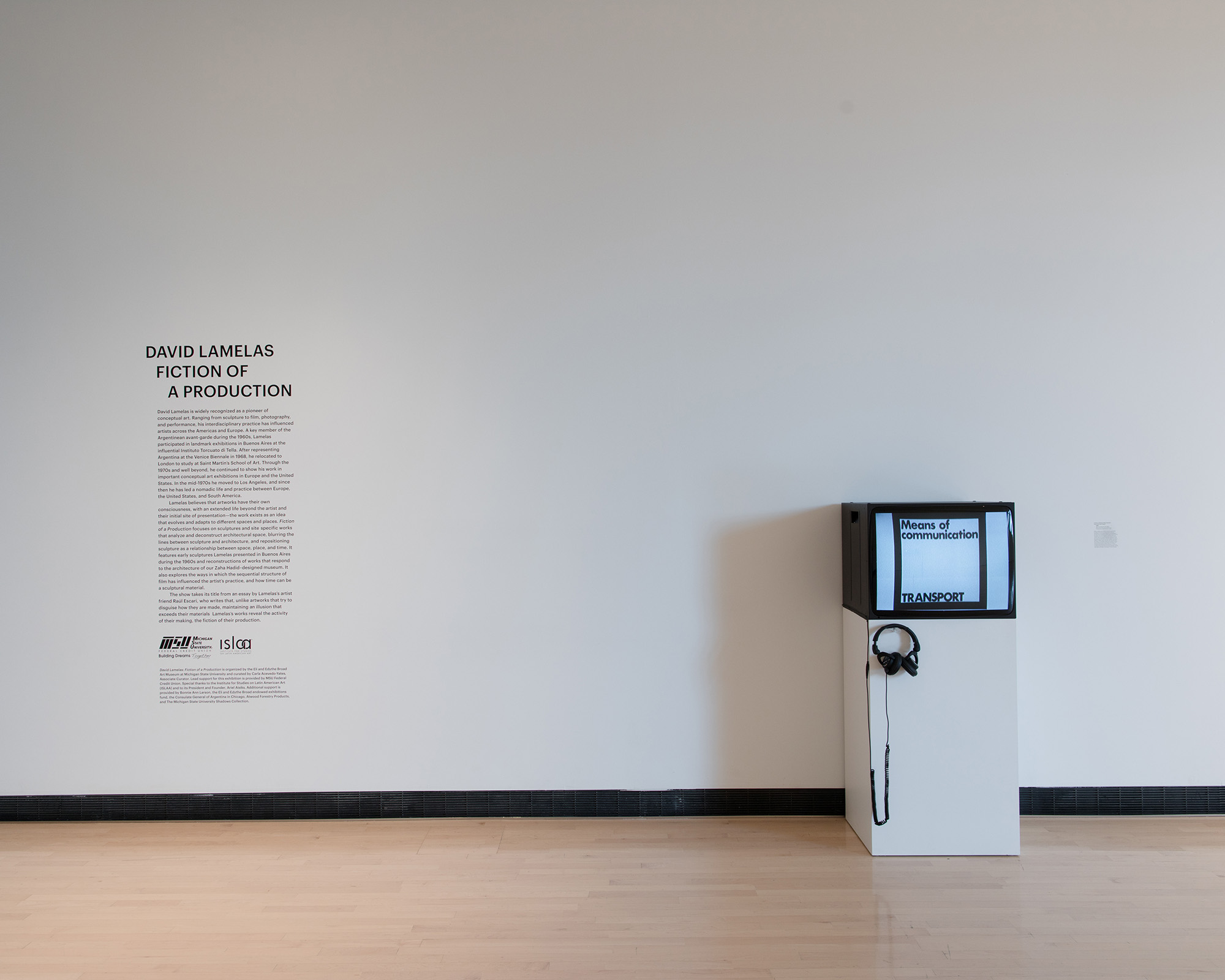 <i>David Lamelas: Fiction of a Production</i>, installation view at the Eli and Edythe Broad Art Museum at Michigan State University, 2018. Photo: Eat Pomegranate Photography
