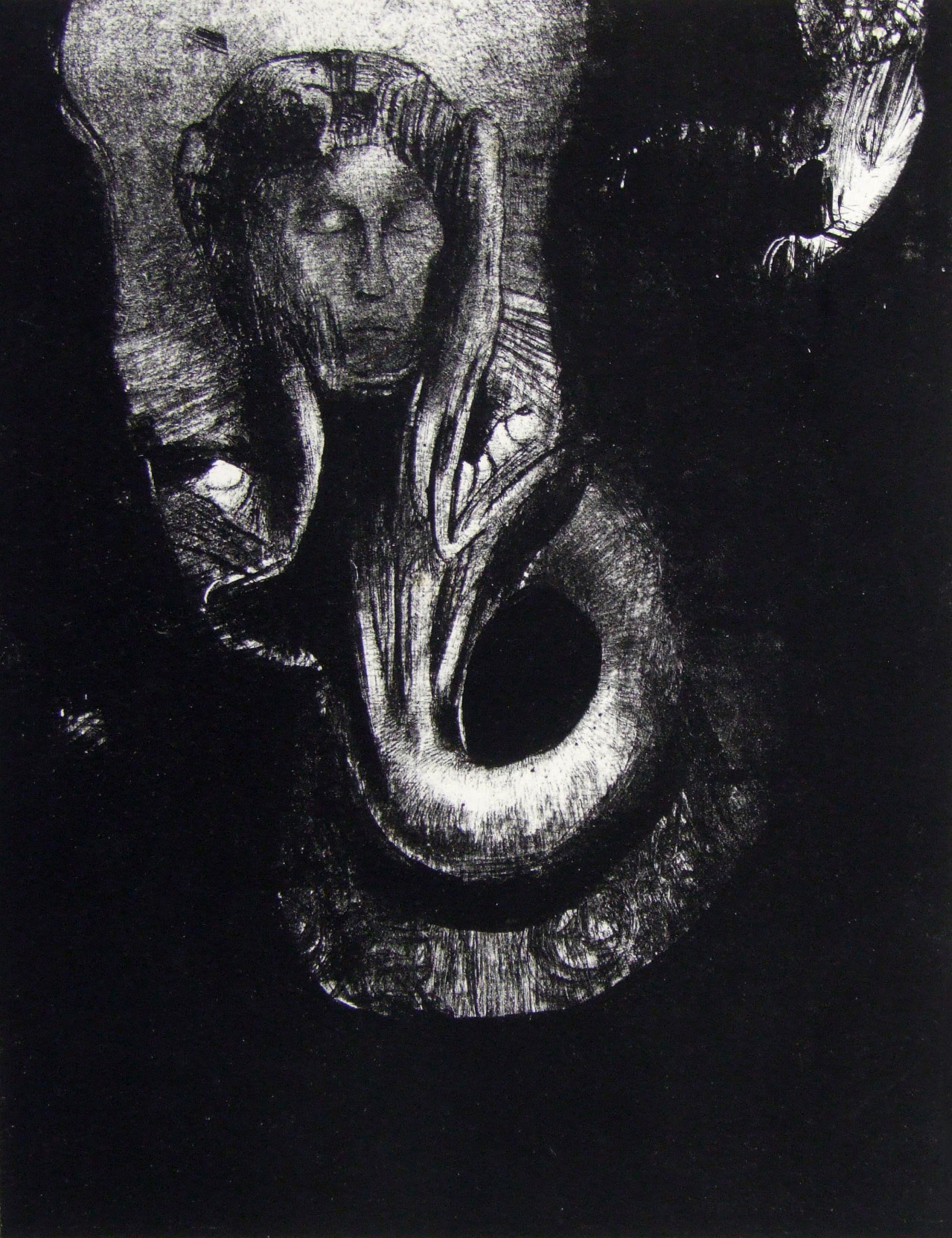 Odilon Redon, <i>Oannès: I, the First Consciousness of Chaos, Arose from the Abyss to Harden Matter, to Regulate Form</i> from <i>The Temptation of Saint Anthony</i>, 1896. Eli and Edythe Broad Art Museum, Michigan State University, purchase, funded by the Garrison Memorial.