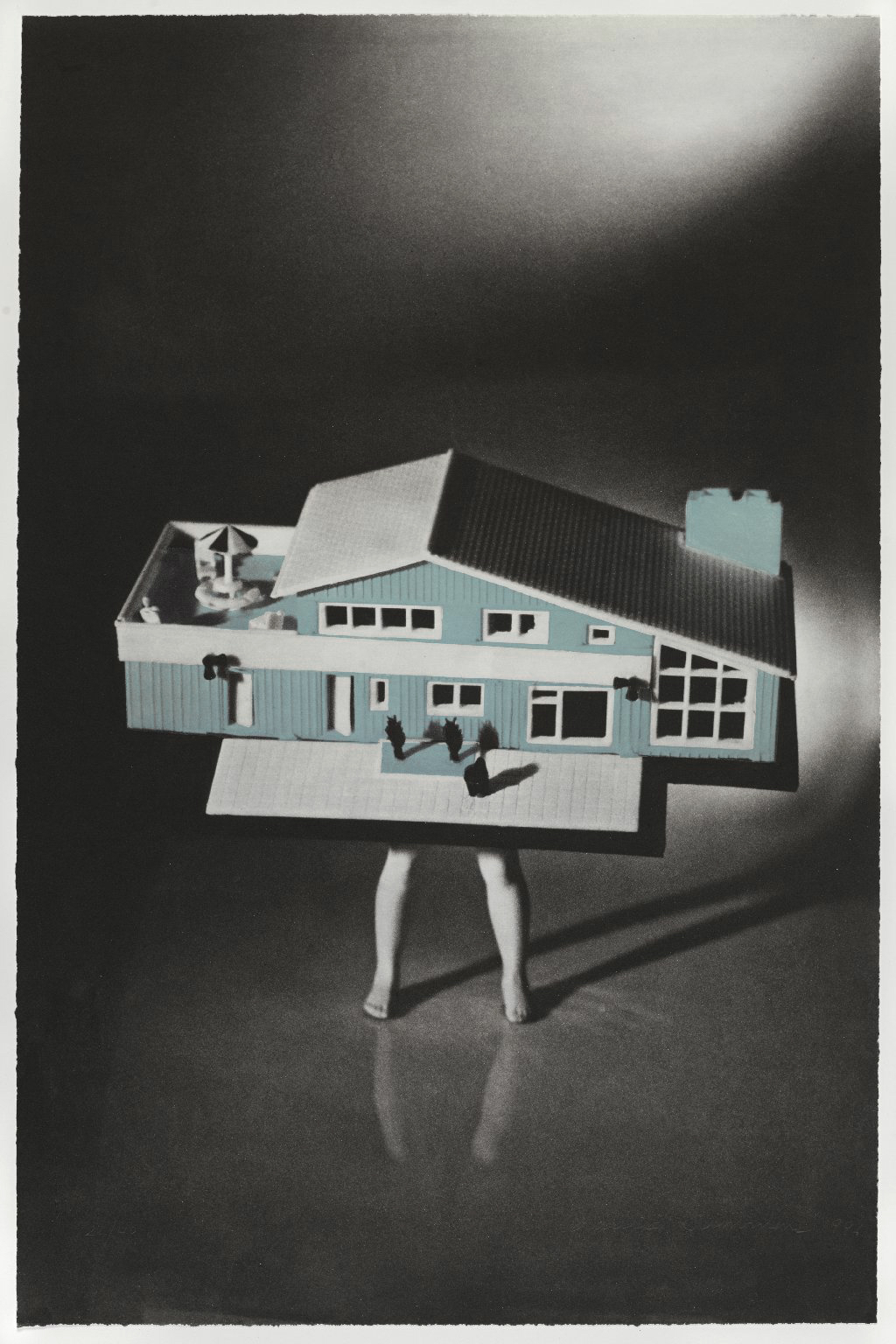 "Laurie Simmons (American, b. 1949), <i>Blue House</i> from the portfolio ""Food, Clothing and Shelter."" Photogravure and aquatint, 28 5/8"" x 18 7/8."""