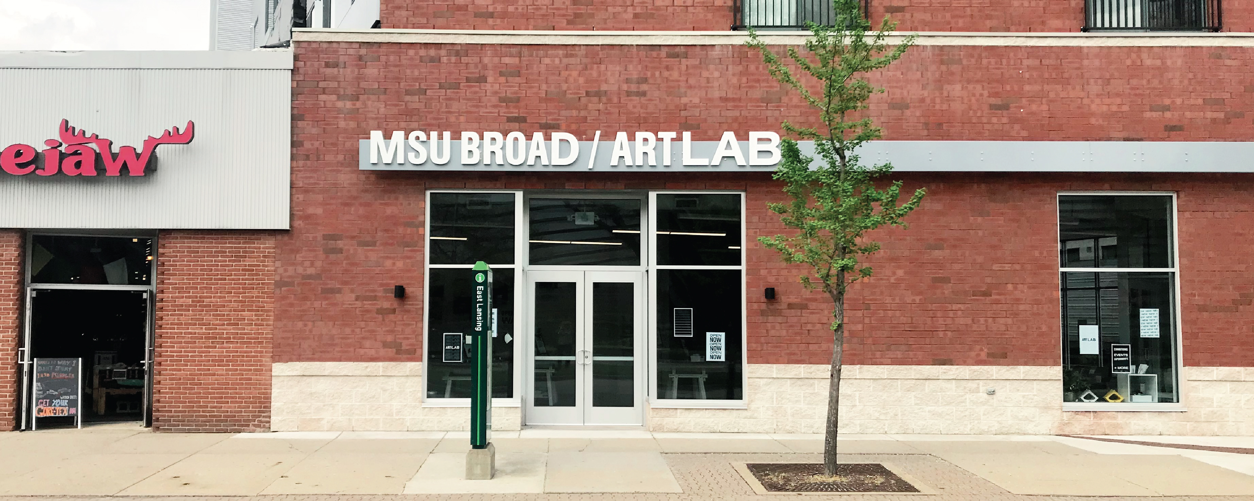 Street level view of the MSU Broad Art Lab entrance doors