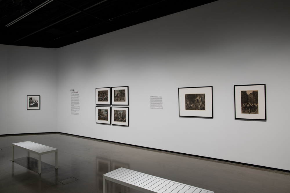 <i>Visual Citizenship</i> installation view at the Eli and Edythe Broad Art Museum at Michigan State University, 2020. Photo: Eat Pomegranate Photography.