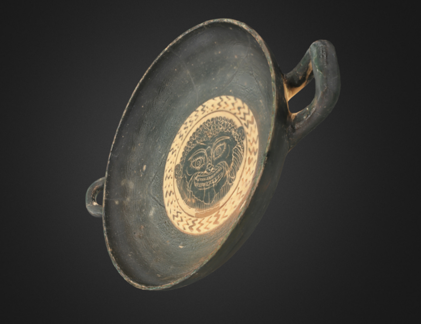 3D image of Black-Figure Kylix with Gorgon Head