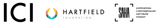 Logos for Independant Curators International, Hartfield Foundation, and SAHA